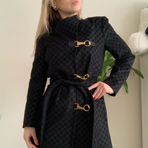 RARE Gucci GG horsebit wool coat
